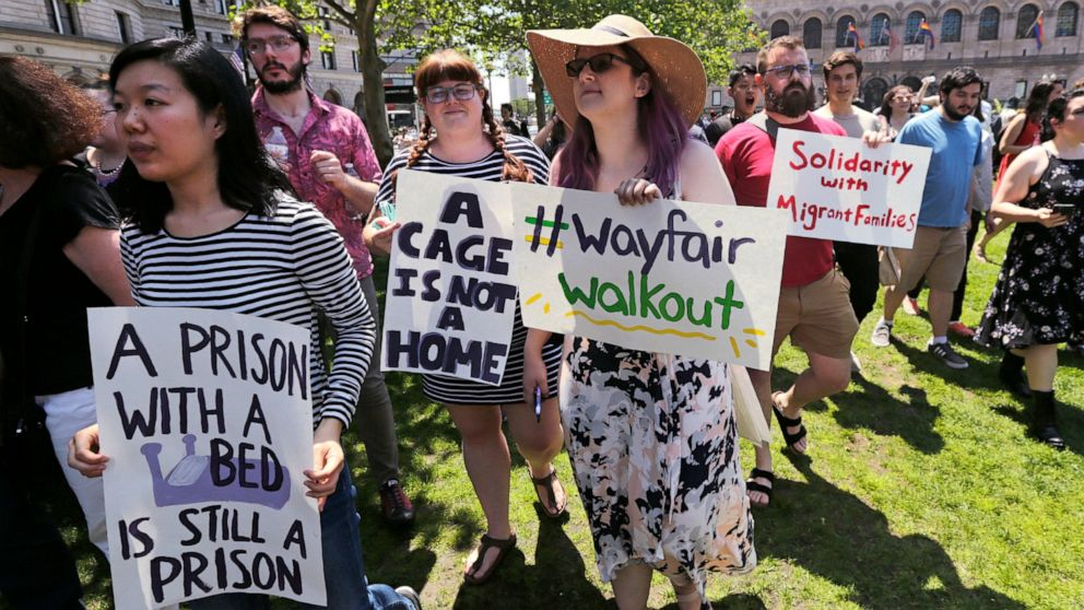 The Latest: Wayfair workers protest sale to detention center