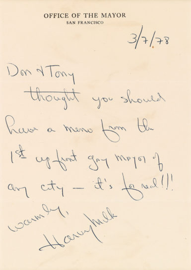A letter signed by Harvey Milk sold for $11,250.