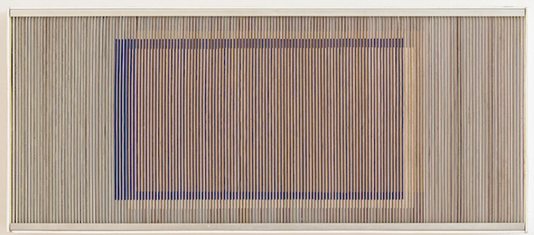 Carlos Cruz-Diez, Physichromie 216, 1966, Cardboard and aluminum modules with wood strip frame.