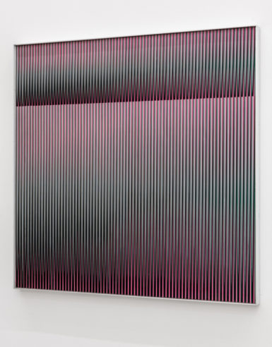 Carlos Cruz-Diez, Physichromie 888, 1974, aluminum, silkscreen, and stainless steel.