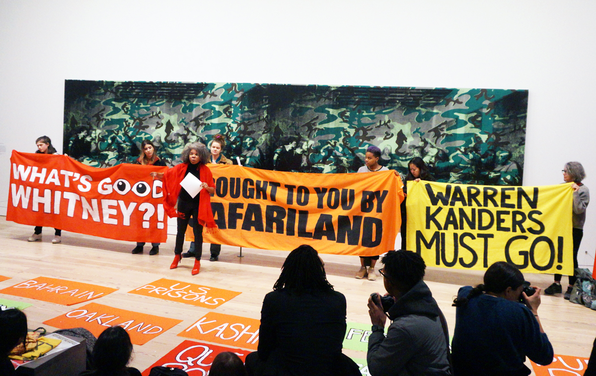 A Decolonize This Place protest at the Whitney.
