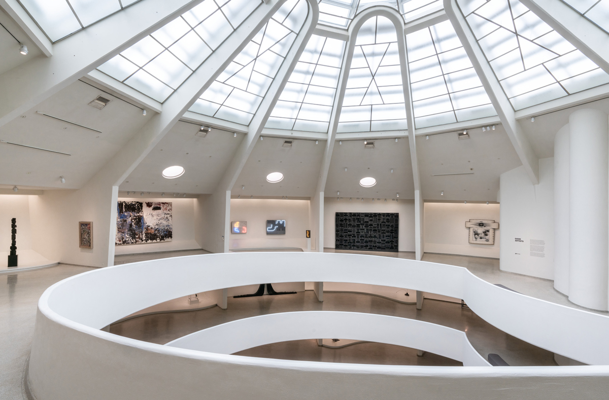 Installation view of Artistic License: Six Takes on the Guggenheim Collection, 2019–2020, showing the section curated by Jenny Holzer, at the Solomon R. Guggenheim Museum, New York.