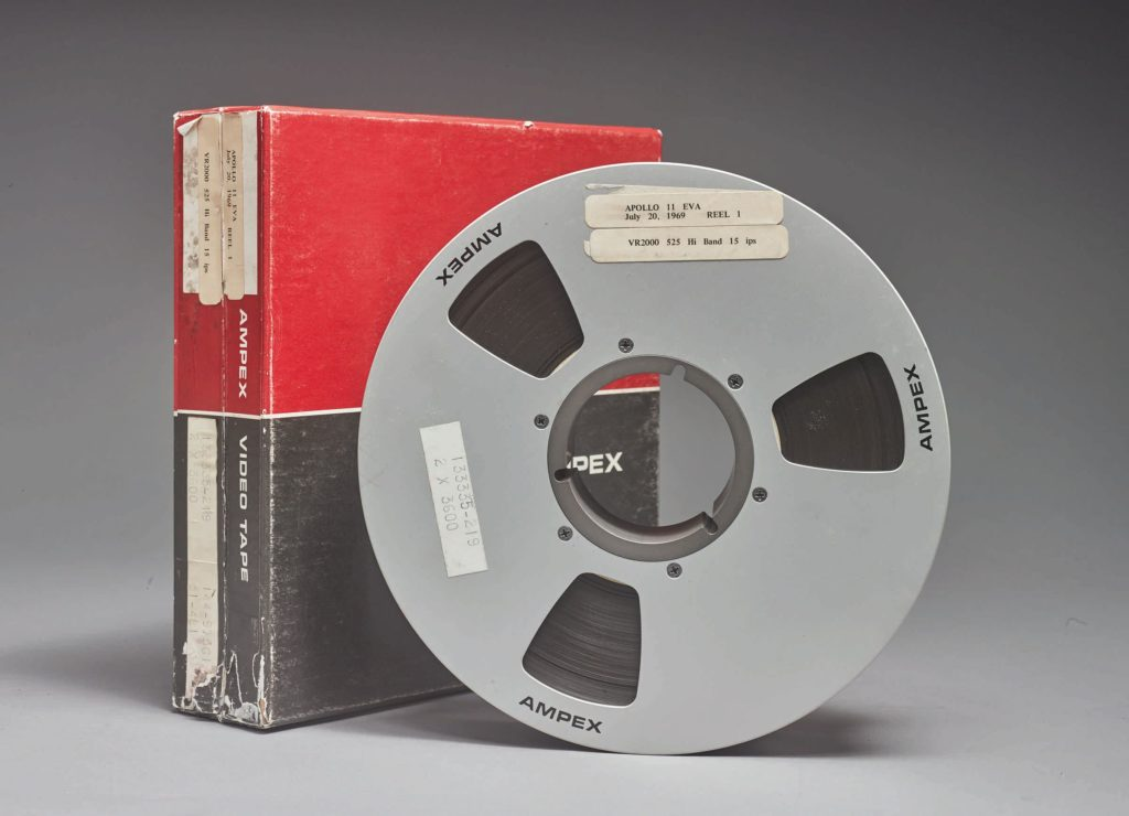 The Apollo 11 tapes displaying the moon landing in 1969.