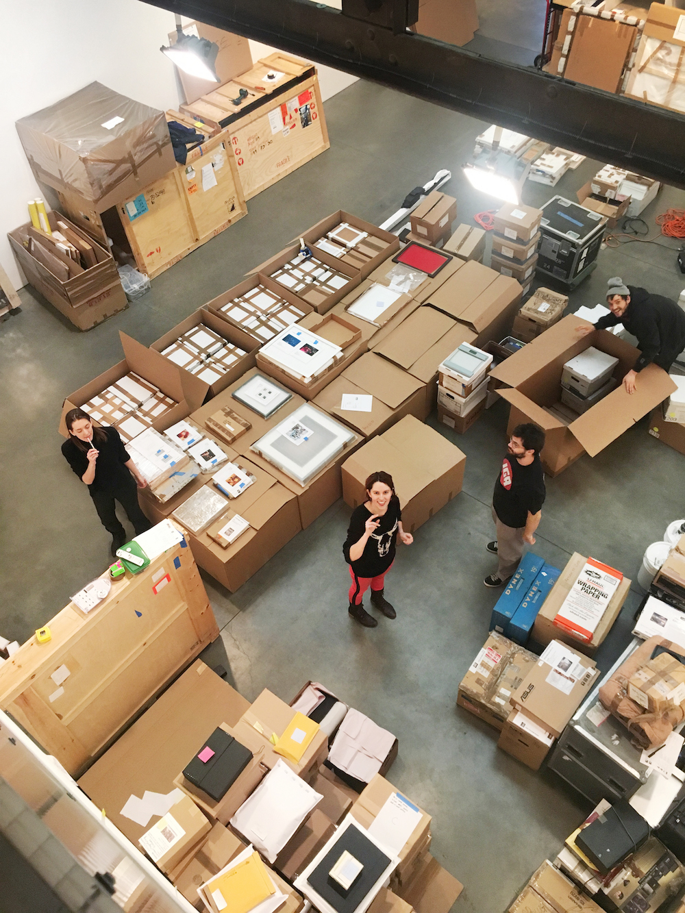 Boxes of archives being packed at Andrea Rosen Gallery before being sent to the Smithsonian.