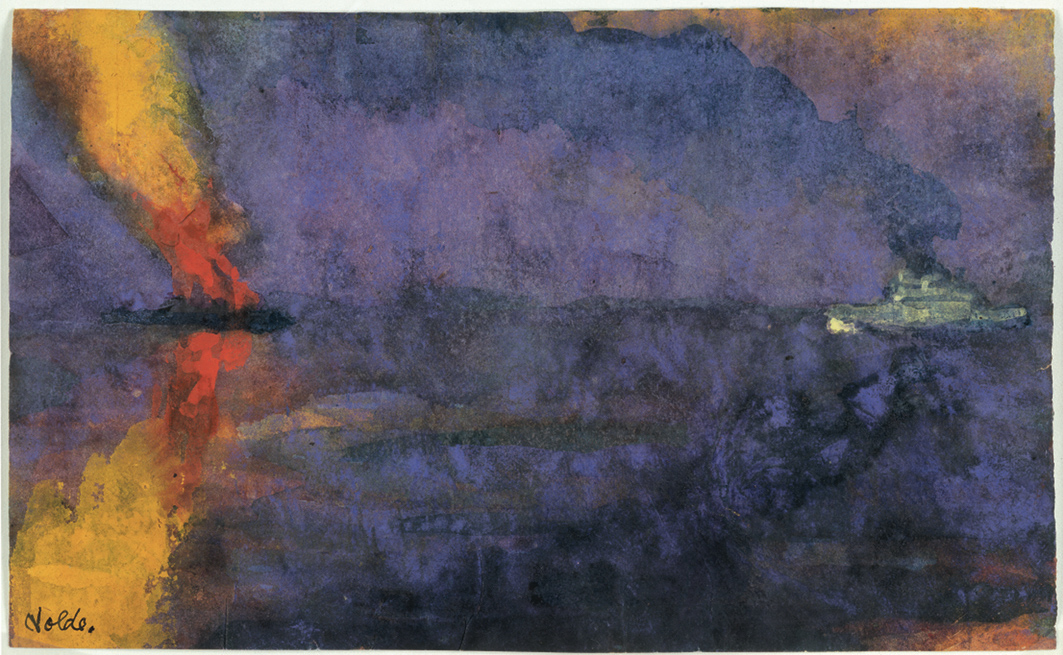 Emil Nolde, Kriegsschiff und brennender Dampfer (Warship and Burning Steamer), undated (ca. 1943), watercolor.