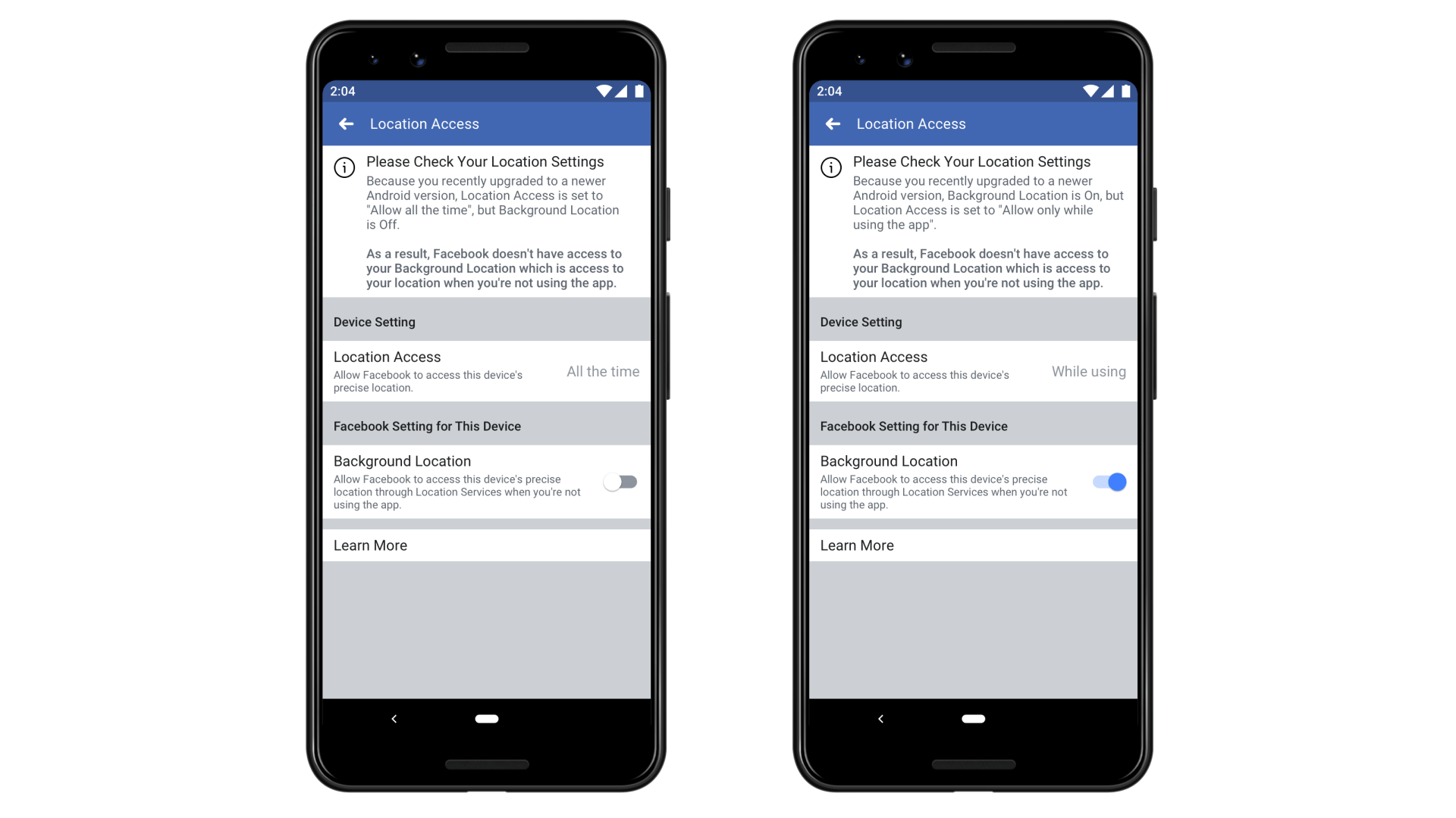 Facebook changes how it handles user location data settings in response to Android, iOS updates