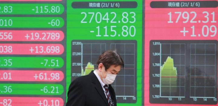 Asian shares mostly lower as virus, China-US tensions weigh
