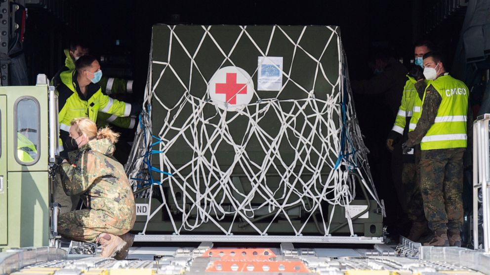 The Latest: Germany airlifts oxygen equipment to India
