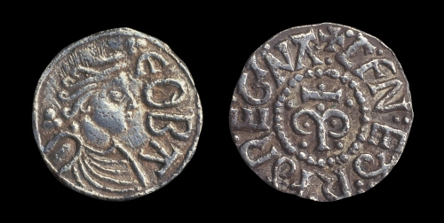 A silver coin depicting a medieval